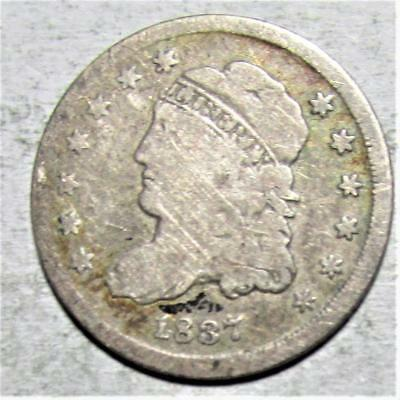 Half Dime, 1837, Good-Very Good, Some Light Scratches, .0387 Ounce Silver
