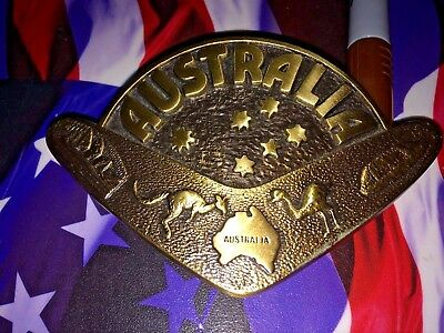 Australian Belt Buckle Solid Brass Depicts Well Known Things In Australia