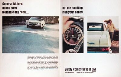 1966 CHEVROLET CAPRICE COUPE Genuine Vintage Advertisement ~ GM SAFETY