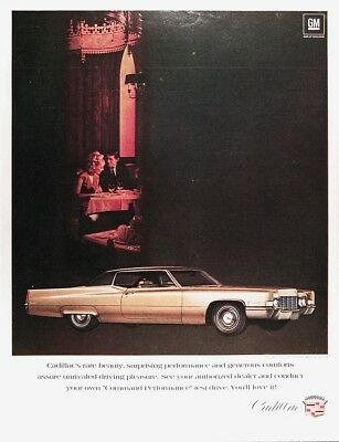 1969 CADILLAC COUPE deVILLE Genuine Vintage Advertisement ~ Command Performance