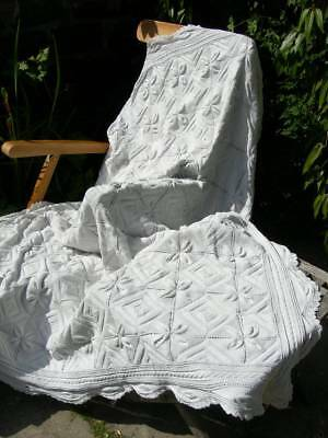 Stunning large antique French hand knitted white cotton bedspread throw