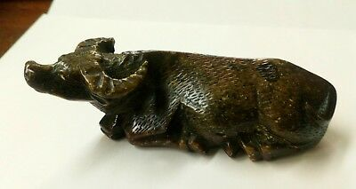 Vintage Chinese Soapstone Carving of a Water Buffalo / Ox Ornament Asian
