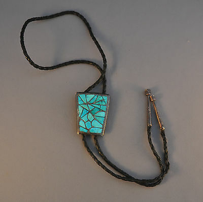 Old Zuni Indian Bolo Tie - Curved Cobblestone Turquoise Silver Channel Inlay