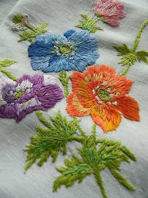 Vintage white Irish linen hand embroidered tablecloth with Coloured Poppies