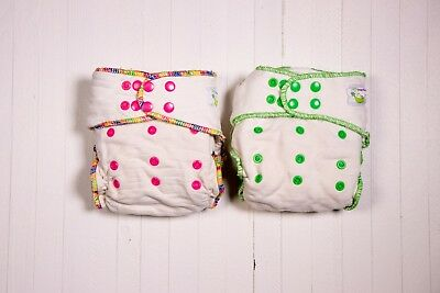 Lot of 2 Sweet Pea One-Size Bamboo & Cotton Fitted Diapers GUC