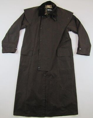 Barbour Stockman brown waxed oil coat long jacket size mens Small S