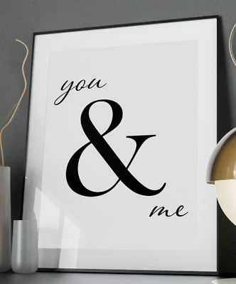 You & Me Inspirational Quote Poster Art Print A3 A4 A5 A6 Decor Gift Love Home