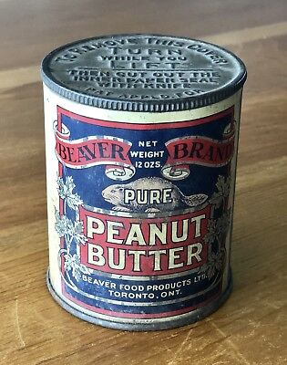 Rare Antique Early 20th Century Beaver Brand Pure Peanut Butter Advertising Tin