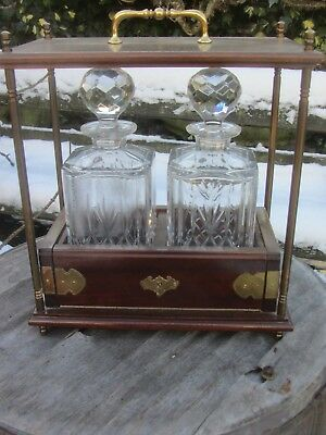 Brass And Mahogany Tantalus With 2 Decanters