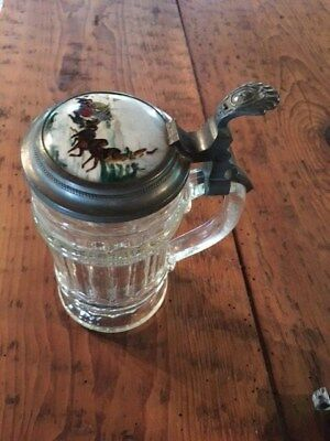 Antique German Bier Stein lidded mug