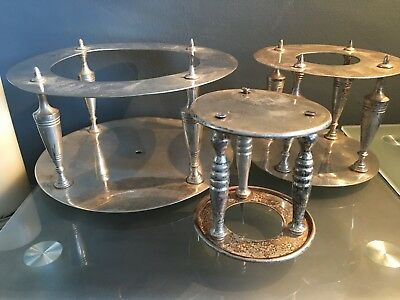 Three Graduation Vintage Silver Plated Cake Pillar On Stands Three Tier Cake