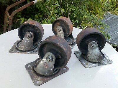 4 Vtg Factory Industrial Reclaimed Cast Iron Cart Caster Wheels Steampunk