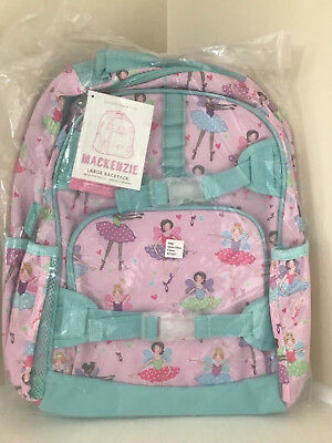 Pottery Barn Kids Large Backpack Frenchies Mackenzie No Mono Dog Pink Aqua New