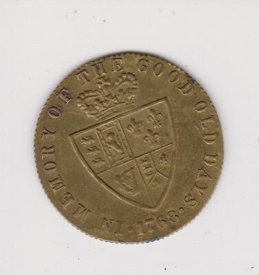 1768 George III Dei Gratia Large Token Memory Of The Good Ol Days.I.89