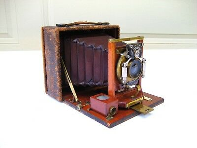 Vintage Antique 1891 Rochester Optical Pony Premo A Red Bellow Folding Camera