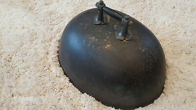 Medium Antique Victorian metal food Cover / Cloche, Dome. Armorial pewter handle