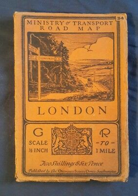"Vintage 1923 MINISTRY OF TRANSPORT Map LONDON 1/2"":1 MILE Early Ordnance Survey"