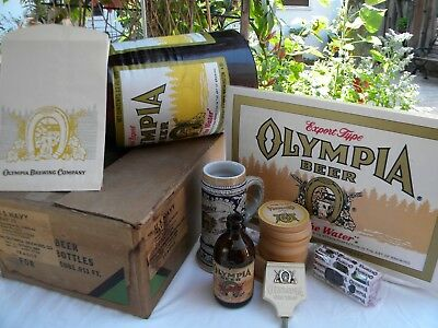 Lot Olympia Beer Bar Decor Oly tap handle mug coasters Stubby Inflatable bottle