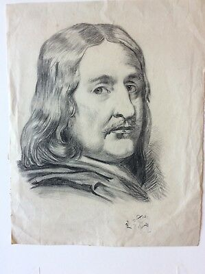 Charcoal Drawing by Louis JachInardij, 24 Jwlgt1855,Laid WM Ingres paper,signed