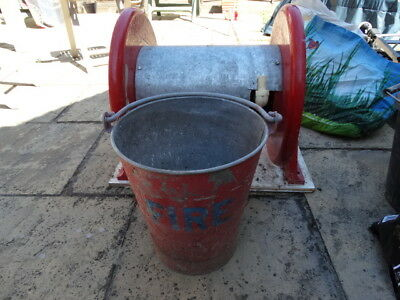 Old Metal Fire Bucket And Cast Iron Fire Reel