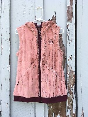 The North Face Vest Small Faux Fur Striped Gray Pink Hooded Soft Fuzzy Pockets