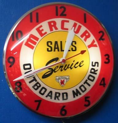 Vintage Pam Lighted Advertising MERCURY OUTBOARD MOTORS SALES & SERVICE Clock