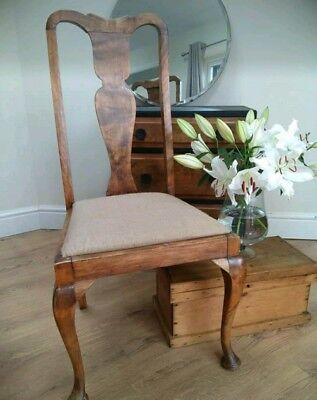 Stunning antique walnut chair with Hessian seat pad