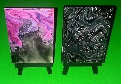 Acrylic pour art original miniature painting lot canvas easel galaxy star night