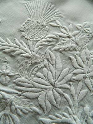Vintage white Irish linen embroidered tablecloth with Thistles, Roses & Shamrock