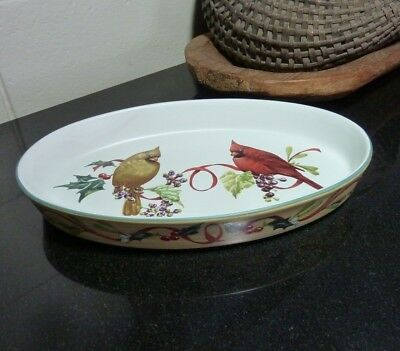 "Lenox Winter Greetings 13 1/4"" Oval Baking Serving Dish Everyday Holiday"