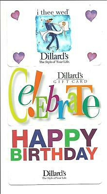 Dillard's Gift Card Lot of 3 Different Birthday Wedding No $ Value Collectible