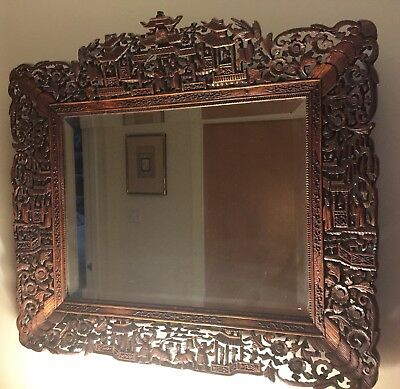Fine Antique Chinese 19th Century Carved Wood Frame with Figures in Pagodas