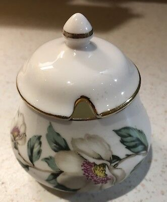 Crown Staffordshire Mustard/Preserve Pot & Lid, Fine Bone China Made In England