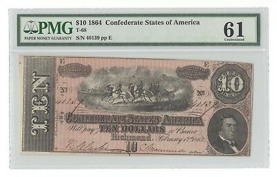 T-68 1864 $10 Red Confederate States of America CSA, Serial #40139, PMG 61 Unc