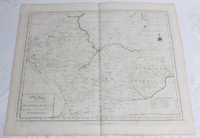Antique Uncoloured Engraved Map LEICESTER & RUTLAND Harrison Sudlow Rapin 1787
