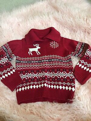 Size 6 - 110 Baby Hunt Boys knit winter fall Sweater red deer argyle EUC