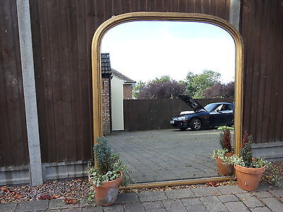 """VERY LARGE Stunning Antique Over Mantle Mirror Arched Top 5ft 2"""" H X 4ft 5 """" W"""