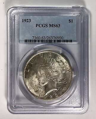 1923 Silver Peace Dollar – PCGS MS 63 – Partially Toned Obverse