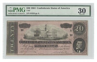 T-67 1864 $20 Red Confederate States of America CSA, #84456, PMG 30 Very Fine