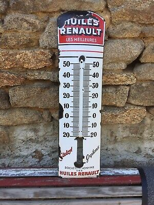 Plaque Emaillee Thermometre Renault