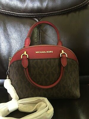 685f5ca15c6d NWT michael Kors Emmy Small Cindy Dome Satchel Crossbody Brown Sig. Cherry  Bag