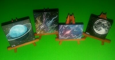 Outer space art original miniature paintings lot canvas easel galaxy planet nova