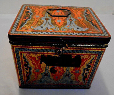 "Nabisco Art Deco Tin, Uneeda Chest Style, Handle, 5.5"" Across 4.75"" Tall Vintage"