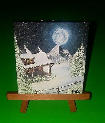 Christmas painting original miniature canvas 3x3 easel snow lights july winter