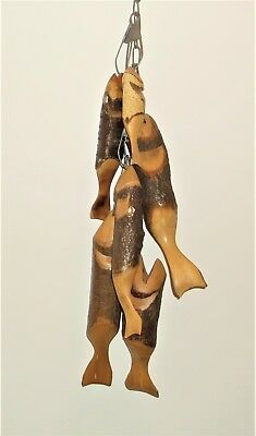 Six Vintage Wood Hand Carved Fish with Hanging Chain Folk Art Beautiful wood