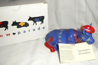 2001 Westland Giftware Cow Parade #9180 Even Cowgirls Get the Blues in Box