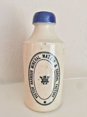 Victor Harbour Mineral Waters & Cordial Factory Stoneware Ginger Beer Bottle