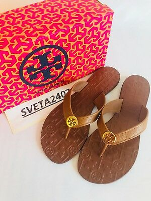 99308791cae0 Tory Burch NIB Thora Thong Flat Sandals Tumbled Leather Logo  43089 Royal  Tan