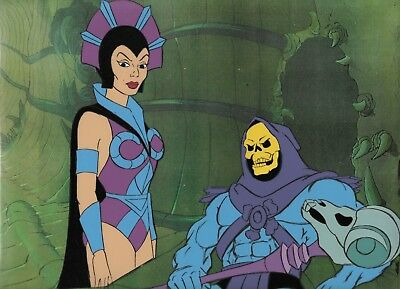 He-Man Masters of the Universe Filmation production cel Skeleton & Evil-Lyn