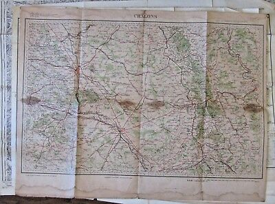 Antique map Chalons sur Marne, Reims, Epernay